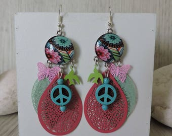 Earrings, hippie chic, colorful, unique and original