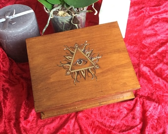 Box of Tarot triangle eye woodcut (storage magic, ritual crystals etc.)