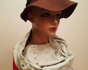 One of a kind genuine lambskin leather scarf w/studs - great gift idea