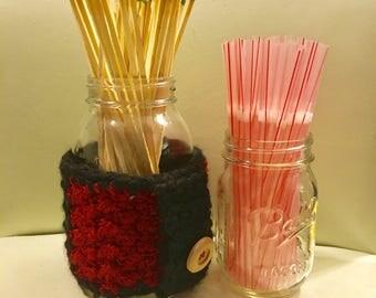 Large mason jar cozie with handle.