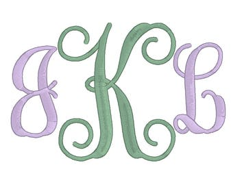 Machine Embroidery Monogram Font, Embroidery Vine Monogram Fonts, Alphabet BX, pes, exp, dst, hus, jef, vp3, vip,xxx(4 Inch)