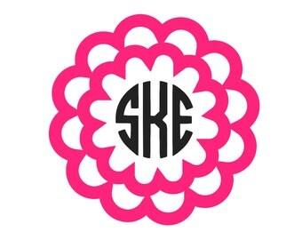 Flower Monogram Sticker - Flower Decal