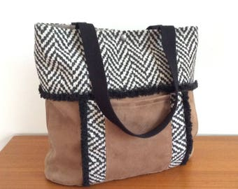 Brown suede and herringbone jacquard Ethnys Tote