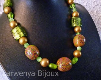 Polymer clay mosaic necklace antique gold