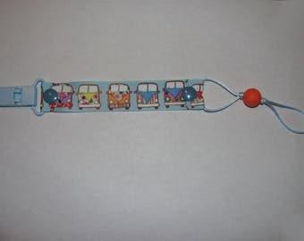 "Pacifier ""Hippie van"" clip plastic light blue, orange silicone teething bead"