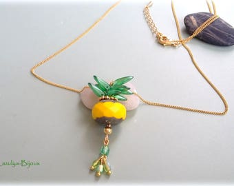 Tropical pineapple pendant necklace handmade chain and faceted beads of Czech glass beads