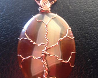 Wire Wrapped Tree of Life on an Agate