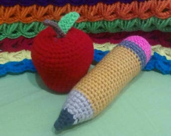 Crocheted Teacher Package with Apple and Pencil (Made to Order)