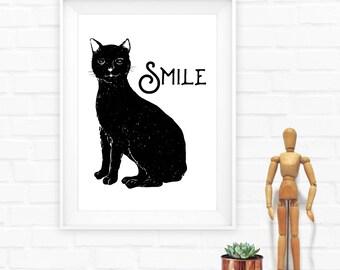 Black Cat Print,Black Cat,Print,Cat Print,Cat Smile Print