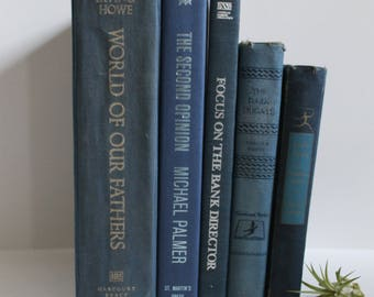 Shades of Blue Vintage Decorative Books - Home Decor, Shelf Filler, Instant Library, Wedding Decor, Prop, Book Collection, Book Lover