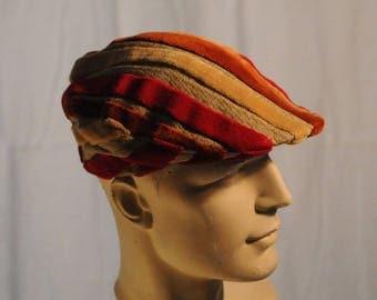 vintage red striped velvet hat size 58