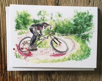 Cycling Card, Mountain Bike Card, Shredding Berms 2, Bike Illustration