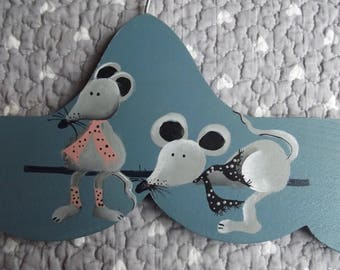 Wooden coat rack for kids blue - mouse couple