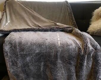 Brown Faux Fur Minky Throw