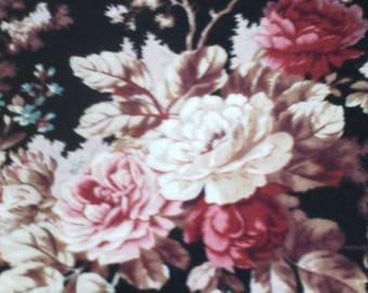 FABRIC BLACK ROSES PRINT