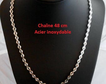 Stainless steel 48 cm silver color chain