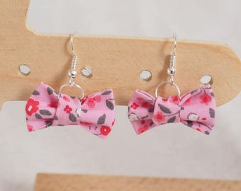 Bow - pink floral earrings