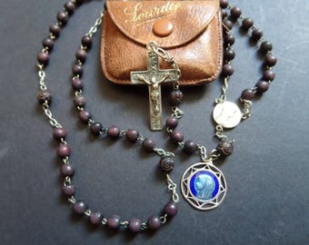 Old french boxwood and silver Rosary with case