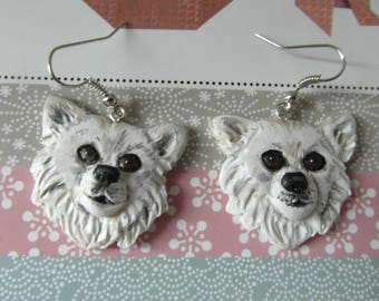 """""""Chihuahua"""" earrings made of cold porcelain"""