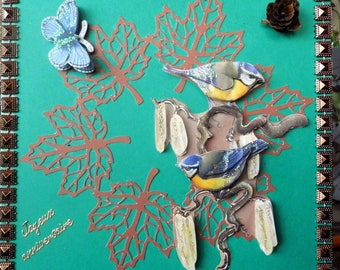 card 3D chickadees on cut Maple leaves