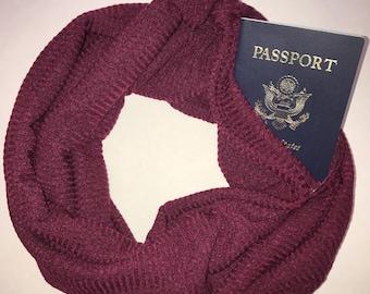 Infinity hidden pocket scarf- Maroon