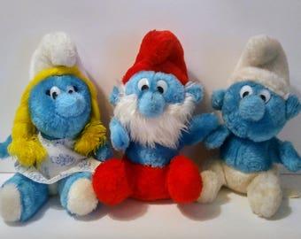 Smurf Plush Doll Toy Stuffed Papa Smurfette Vintage 1981 Three
