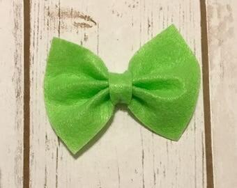 Lime Green Felt Bow