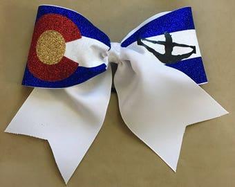 Colorado flag bow - Colorado Gifts - Colorado Girl - Cheer Bows - Colorado Cheer Bows