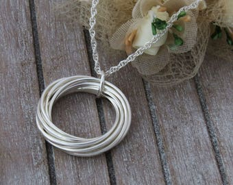 40th Birthday Gift,  Sterling Silver Interlocking Rings Necklace, 4 rings for 4 decades, Gift for Her
