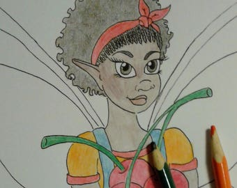 Cherry Fairy Coloring Page