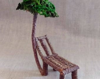 Miniature Rustic Fairy Chaise Lounge Chair With Beach Umbrella Made From Tree Twigs and Imitation Moss