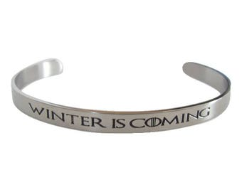 Game of Thrones Inspired Bangle Bracelet (Winter is Coming)