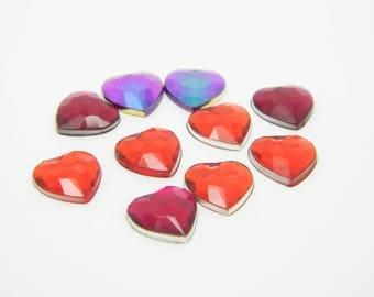 40 x rhinestone multicolor heart 1 cm (l781)