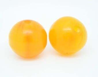set 2 (l.660) x 14mm orange round bead