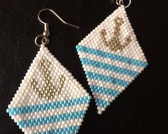 "Earrings ""anchor"" handwoven"