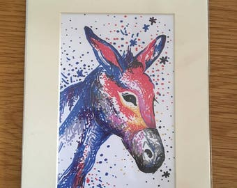 Cute donkey drawing in bright pen