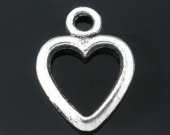 x 2 silver metal heart charms