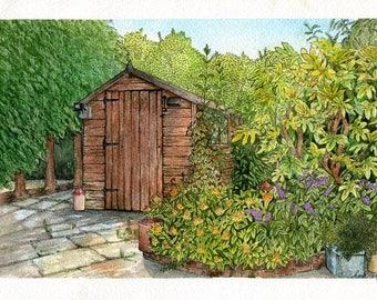 A4 Print: 'Summer Garden' Watercolour Painting