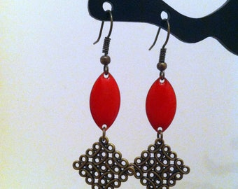 Baroque style red earrings