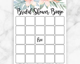 Tropical Flowers Bridal Shower Bingo Game Card