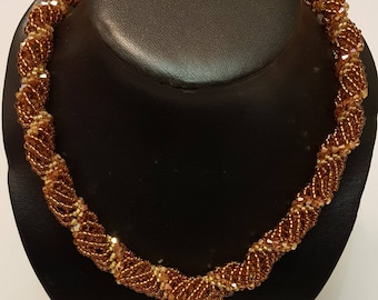 Brown and Gold Dutch Spiral Necklace