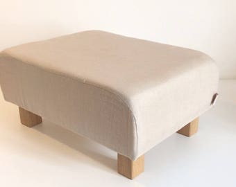 Pat the Pouffe, foot for adult or kids stool. Natural linen version
