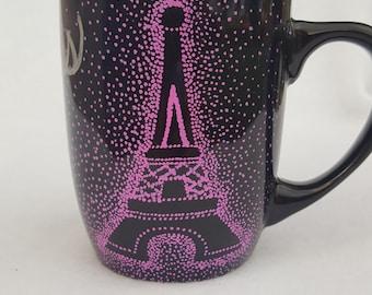 Paris Eiffel Tower hand painted mug