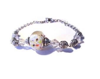 Vintage white European Bead Bracelet