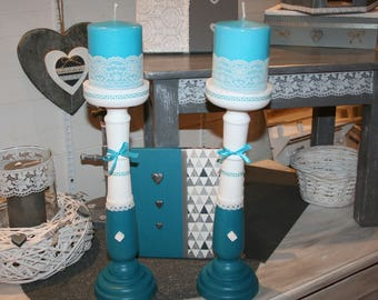 turquoise and white lace and wooden heart candle holder