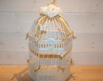 urn birdcage wedding rustic white ivory and gold linen lace