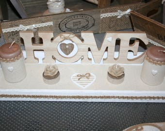 set candles taupe and white hearts home