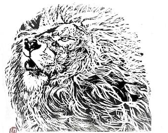linogravure, linocut, lion, gravure, illustration, original, , tableau, pour sous-verre