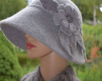 Grey Cloche Hat Wool Vintage style Winter Womans Fashion Tiffany style Accessory