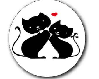 cabochon 18mm, cats and heart